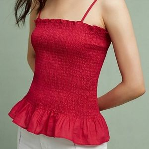 Anthropologie Smocked Peplum Cami by Maeve Small